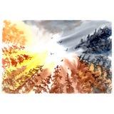 Céu com silhueta da árvore Ilustração colorida da aquarela fotos de stock royalty free