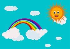 Céu com um arco-íris ilustração stock