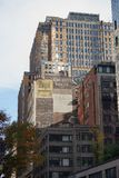 Céu da skyline de New York City Manhatten EUA fotografia de stock