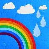 Céu do arco-íris do corte do papel de arroz com nuvens Fotos de Stock