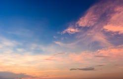 Céu do por do sol Foto de Stock