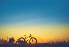Céu do por do sol e silhueta bonitos do Mountain bike Fotografia de Stock Royalty Free