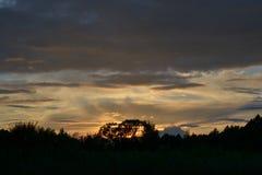 Céu do por do sol sobre as extensões fotos de stock