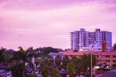 Céu do rosa de Miami Beach Imagem de Stock Royalty Free
