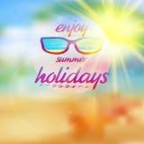 Céu do verão com os óculos de sol vestindo do sol Imagem de Stock Royalty Free
