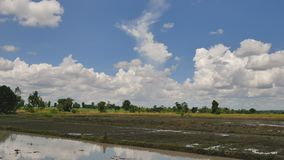 Céu e campos do lapso de tempo com o fazendeiro que ara para ajustar a área de plantação filme