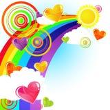 Céu e corações Funky Imagens de Stock