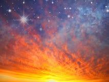 Céu e estrelas no incêndio Imagens de Stock