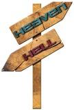 Céu e inferno - sinal direcional de madeira ilustração royalty free