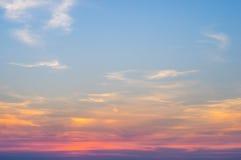 Céu em colorido após o por do sol Fotografia de Stock