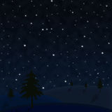 Céu estrelado com árvores Foto de Stock Royalty Free