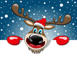 Céu estrelado da neve do sinal do quadro de avisos do Natal da rena Fotos de Stock Royalty Free