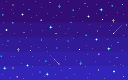 Céu estrelado da noite da arte do pixel ilustração do vetor