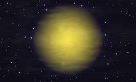 Céu estrelado e lua grande Fotografia de Stock Royalty Free