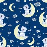 Céu estrelado, uma lua nova e um filhote de urso polar ilustração royalty free