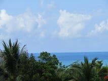 Céu, mar, nuvens e palmeiras Fotografia de Stock Royalty Free