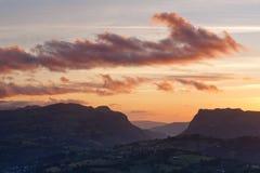 Céu nebuloso do por do sol Foto de Stock Royalty Free