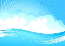 Céu nebuloso e onda Imagens de Stock