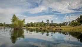 Céu nebuloso refletido no lago calmo imagem de stock royalty free