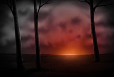 Céu no incêndio Imagem de Stock