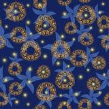 Céu nocturno com estrelas brilhantes e as flores abstratas Fotos de Stock Royalty Free