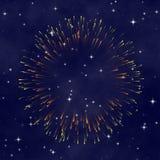 Céu nocturno da estrela com fogo-de-artifício Imagens de Stock