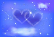 Céu nocturno de dois corações Fotos de Stock