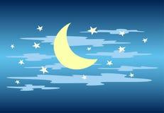 Céu nocturno Lua, nuvens e estrela Vetor Fotografia de Stock Royalty Free