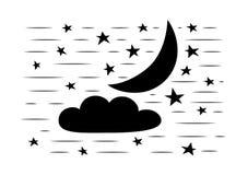 Céu nocturno Lua, nuvens e estrela Vetor Imagens de Stock Royalty Free