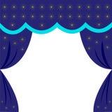 Céu noturno azul da cortina com estrelas, como no teatro, em uma placa para o convite ou no bilhete, ilustração stock