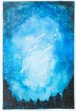 Céu noturno azul pintado à mão da aquarela com estrelas de queda e tr imagens de stock
