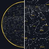 Céu noturno com constelações ilustração stock