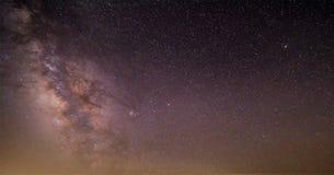 Céu noturno escuro azul com campo acima de muitas estrelas das árvores Parque de Yellowstone Fundo do cosmos de Milkyway fotos de stock royalty free