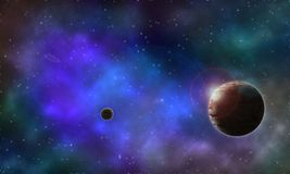 Céu noturno estrelado planets-1 do fundo Fotos de Stock Royalty Free