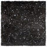 Céu noturno preto e branco da aquarela com estrelas e bordas ásperas Foto de Stock Royalty Free