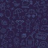Céu noturno sem emenda do teste padrão para o bebê ilustração royalty free