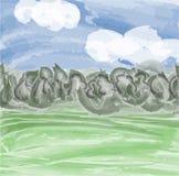 Céu, prado e floresta Imagens de Stock