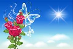 Céu, rosas, e borboleta. Fotos de Stock