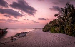Céu roxo no nascer do sol em Maldivas Imagens de Stock Royalty Free