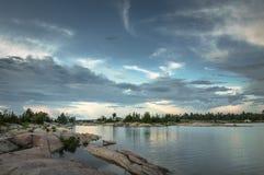 Céu sobre os grandes lagos Imagem de Stock