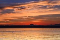 Céu vermelho do por do sol Fotografia de Stock Royalty Free