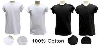 Círculo 100% preto branco do algodão do t-shirt V Fotografia de Stock