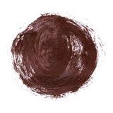 Círculo abstrato acrílico do marrom escuro no fundo branco imagem de stock