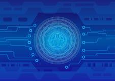Círculo abstrato do fundo e código binário de processo central da tecnologia com cérebro digital Imagem de Stock