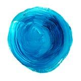 Círculo acrílico isolado no fundo branco Forma redonda azul brilhante da aquarela para o texto Elemento para o projeto diferente Imagem de Stock
