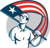 Círculo americano de la bandera de Holding los E.E.U.U. del comerciante libre illustration
