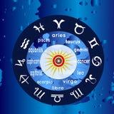 Círculo astrológico con las muestras del zodiaco Foto de archivo