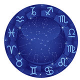Círculo azul del zodiaco fotografía de archivo