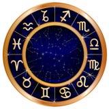 Círculo azul del zodiaco del oro stock de ilustración