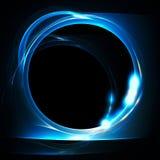 Círculo azul do fractal em um preto Fotos de Stock Royalty Free